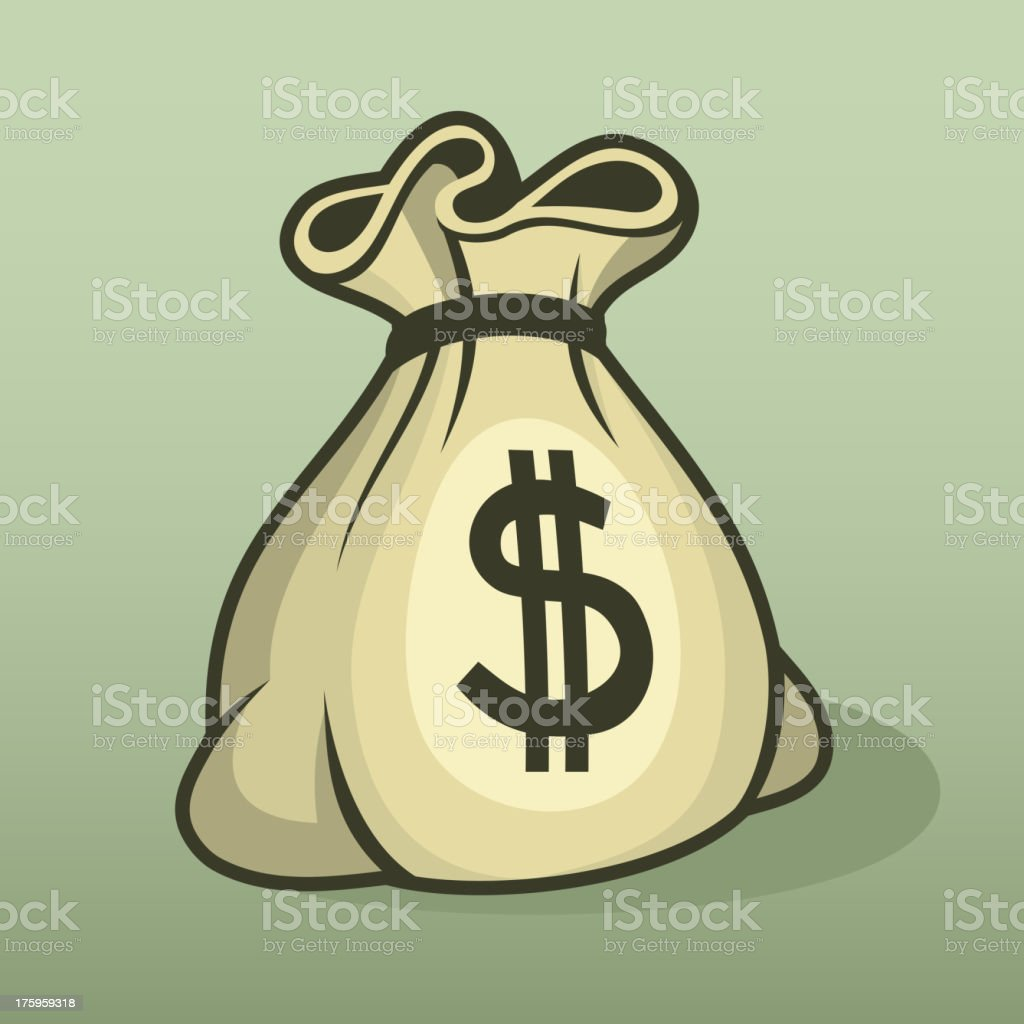 Money icon with bag, color vector. vector art illustration