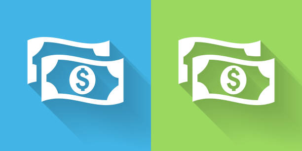 money icon with long shadow - dollar bill stock illustrations