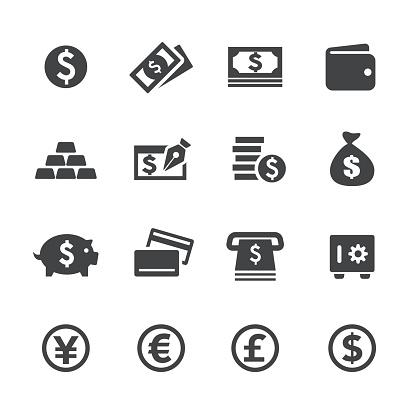 Money Icons Acme Series — стоковая векторная графика и другие изображения на тему Американская валюта