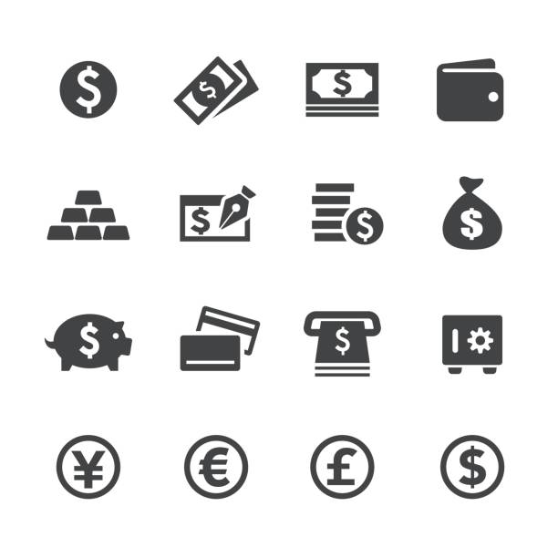 Money Icons - Acme Series Money Icons safety deposit box stock illustrations