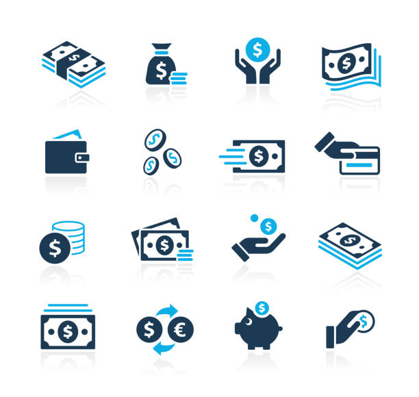 Money Icons // Azure Series Vector money related icons for your web or printing proyects. currency stock illustrations