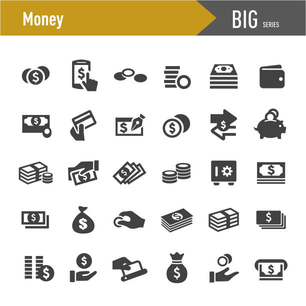money icons - big series - banknot stock illustrations