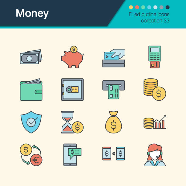 illustrazioni stock, clip art, cartoni animati e icone di tendenza di money icons. filled outline design collection 33. for presentation, graphic design, mobile application, web design, infographics. - shifts call centre