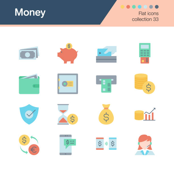 illustrazioni stock, clip art, cartoni animati e icone di tendenza di money icons. flat design collection 33. for presentation, graphic design, mobile application, web design, infographics. - shifts call centre