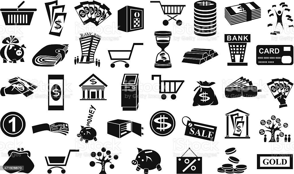 money icons isolated on white vector art illustration