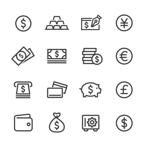money icons - line series - dollar bill stock illustrations