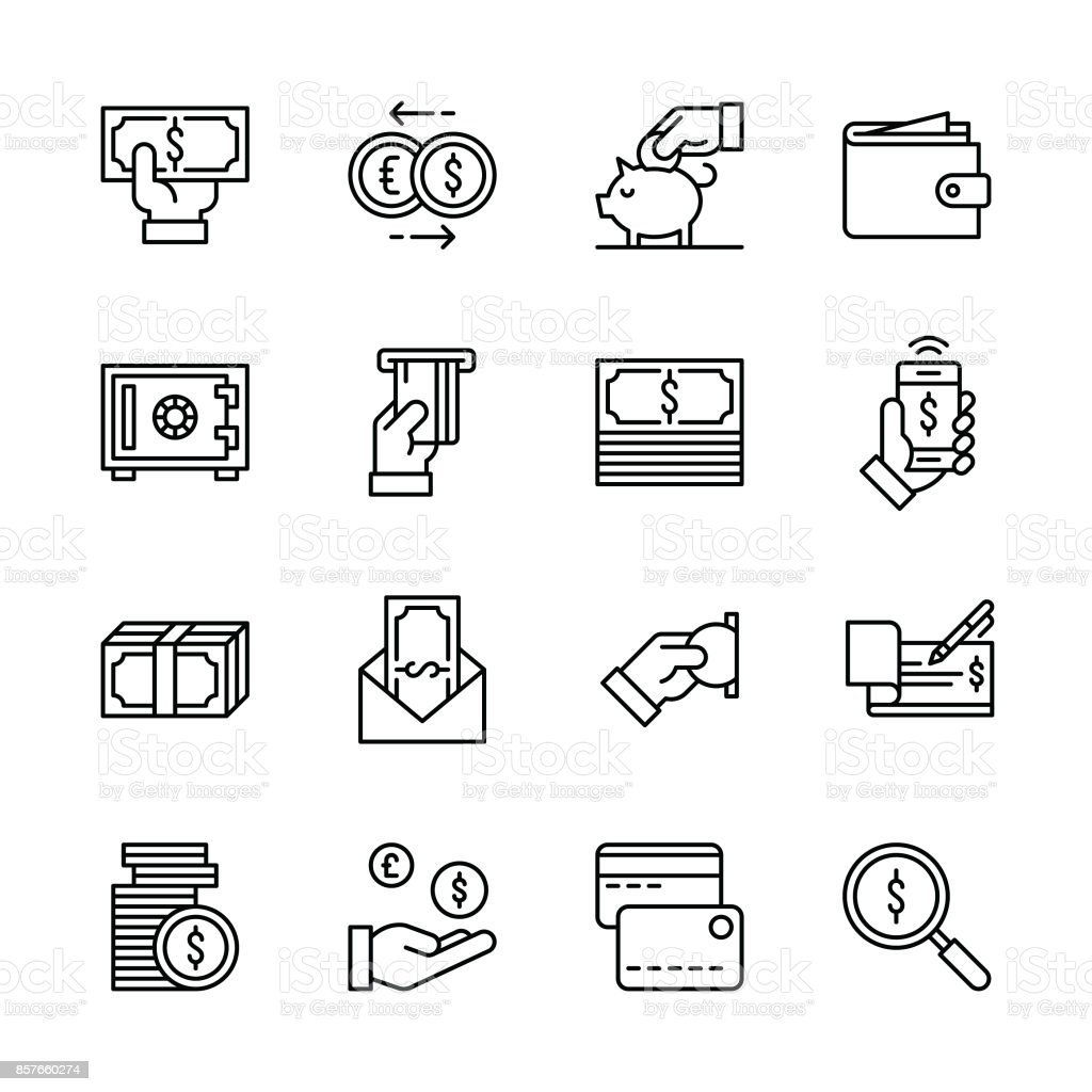 Money icons - Line vector art illustration