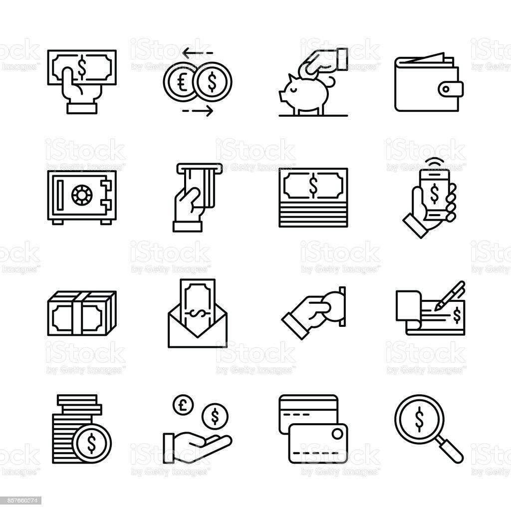 Money icons - Line vector art illustration