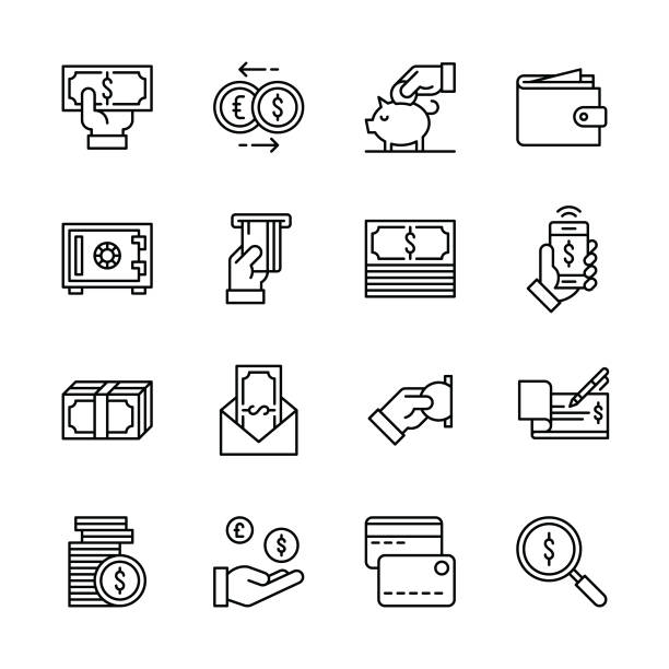 Money icons - Line Money icons - Line Vector EPS File. wages stock illustrations