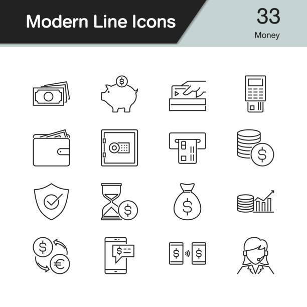 illustrazioni stock, clip art, cartoni animati e icone di tendenza di money icons. modern line design set 33. for presentation, graphic design, mobile application, web design, infographics. - shifts call centre