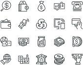 Money Icons,  Monoline concept