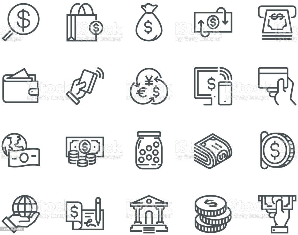 Money Icons,  Monoline concept vector art illustration