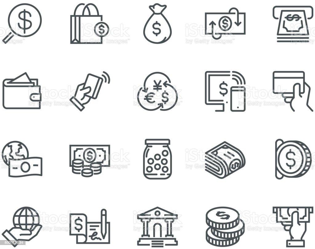 Icônes de l'argent, Monoline concept - Illustration vectorielle