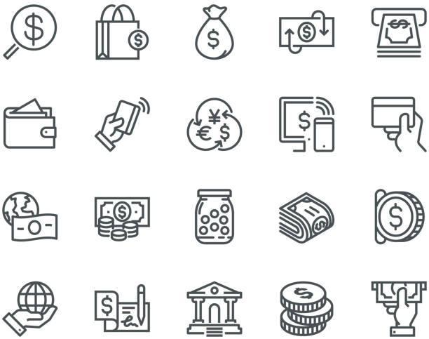 money icons,  monoline concept - płacić stock illustrations