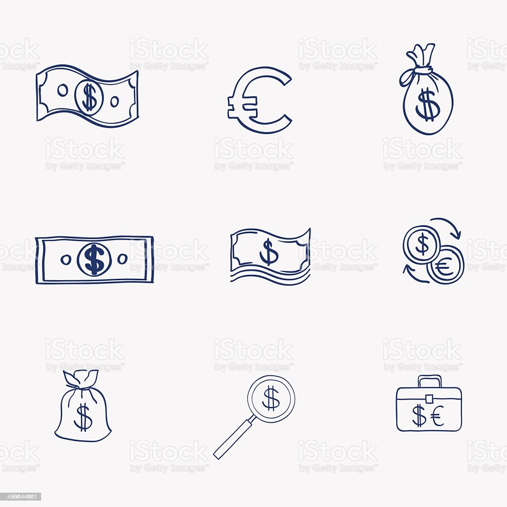 Geld Icons Set Doodle Skizze Von Hand Zeichnen Geschäfts Und Finanse