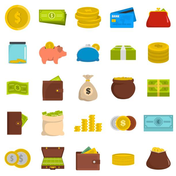 Money icons set, flat style Money icons set. Flat illustration of 25 money vector icons isolated on white background change purse stock illustrations