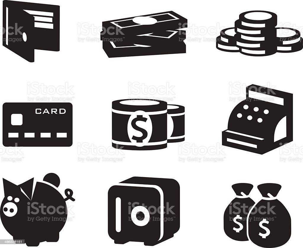 Money icons set vector art illustration