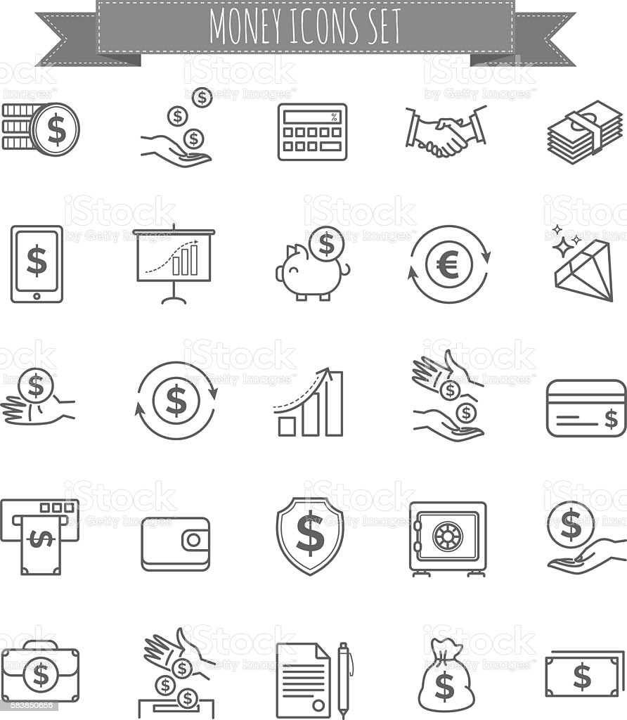Money icons. UI money elements vector art illustration