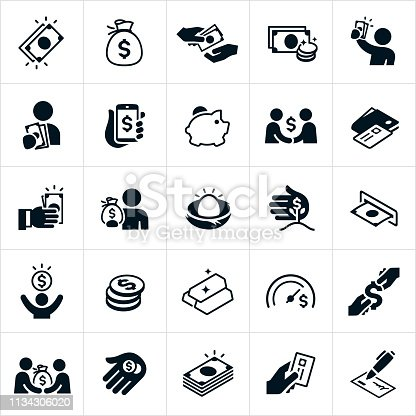 A set of money icons. The icons include cash, money sack, purchasing, buying, giving money, taking money, coins, currency, dollar sign, person holding money, money on phone, piggy bank, credit card, wallet, making money, nest egg, ATM, gold, goal, stack of money and financial check to name just a few.