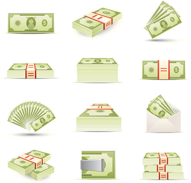 money icons - dollar bill stock illustrations