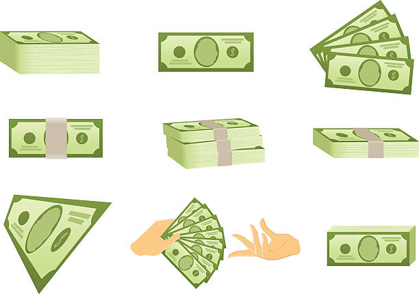 US Money Icons Icon set with US money american one hundred dollar bill stock illustrations