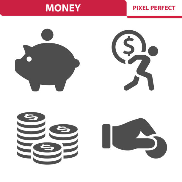 Money Icons Professional, pixel perfect icons depicting various money, finance and currency concepts. piggy bank stock illustrations