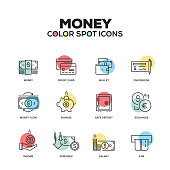 Money icons. Vector line icons set. Premium quality. Modern outline symbols and pictograms.