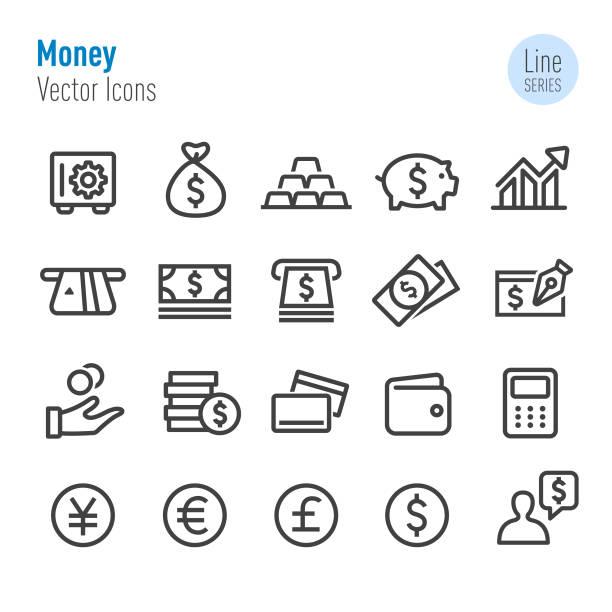 돈 아이콘-벡터 라인 시리즈 - 영국 화폐 단위 stock illustrations