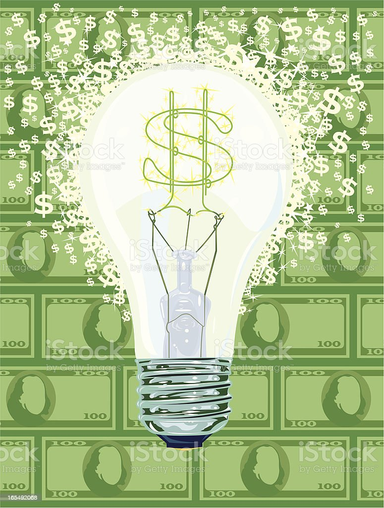 Money Idea Dollar Symbol Light Bulb royalty-free stock vector art