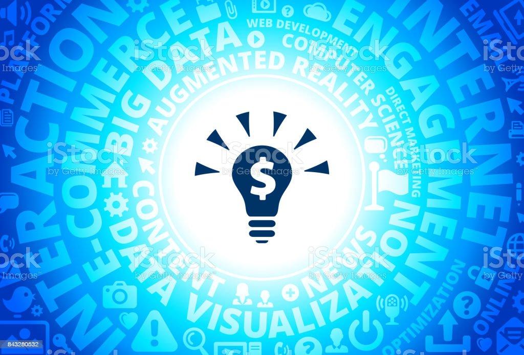 Money Idea Icon on Internet Modern Technology Words Background vector art illustration