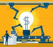 Transformation idea to money. illustrator 10 eps file