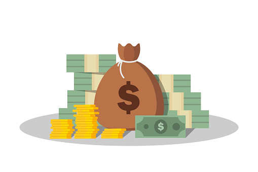 Money illustration. Big stack of dollars and golden coins. Wealth and success.