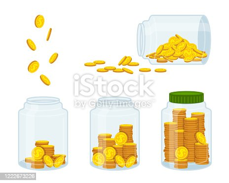 istock Money in bank gold coin flat cartoon currency sign 1222673226