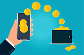 istock Money in coins from a mobile phone to a wallet. Digital payment transaction in a smartphone. 1237717426