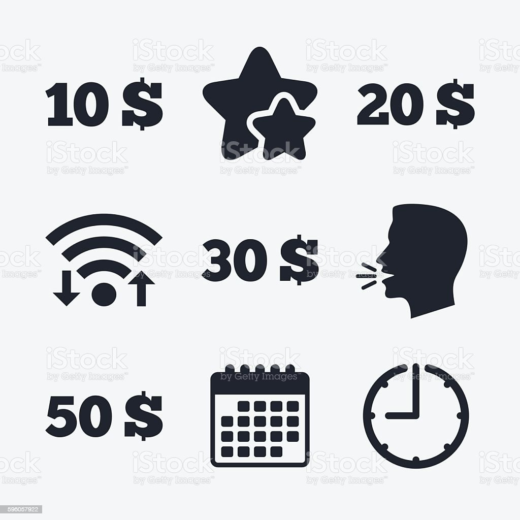 Money in Dollars icons. Ten, twenty, fifty USD. royalty-free money in dollars icons ten twenty fifty usd stock vector art & more images of badge