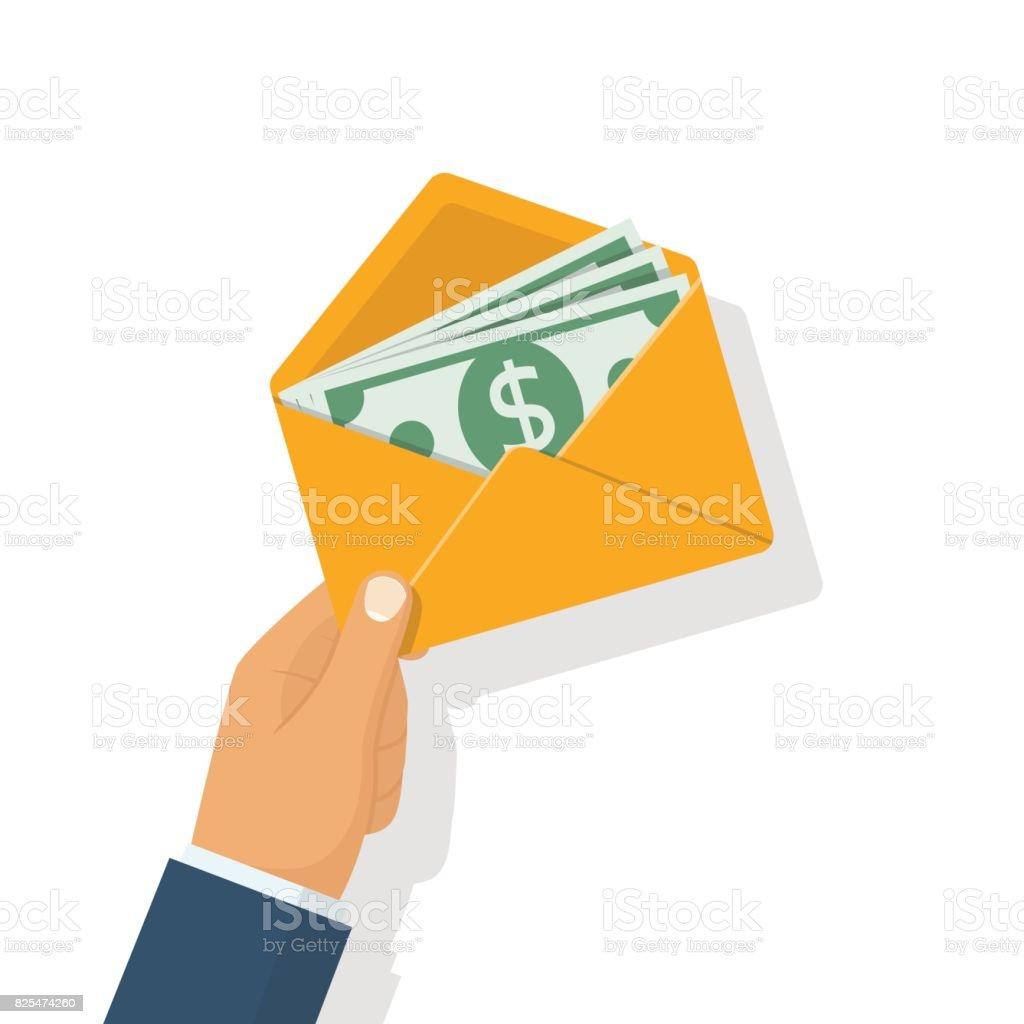 Money in envelope hold in hand businessman vector art illustration