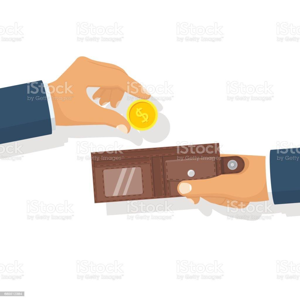 手中有金錢。把 免版稅 手中有金錢把 向量插圖及更多 人手 圖片