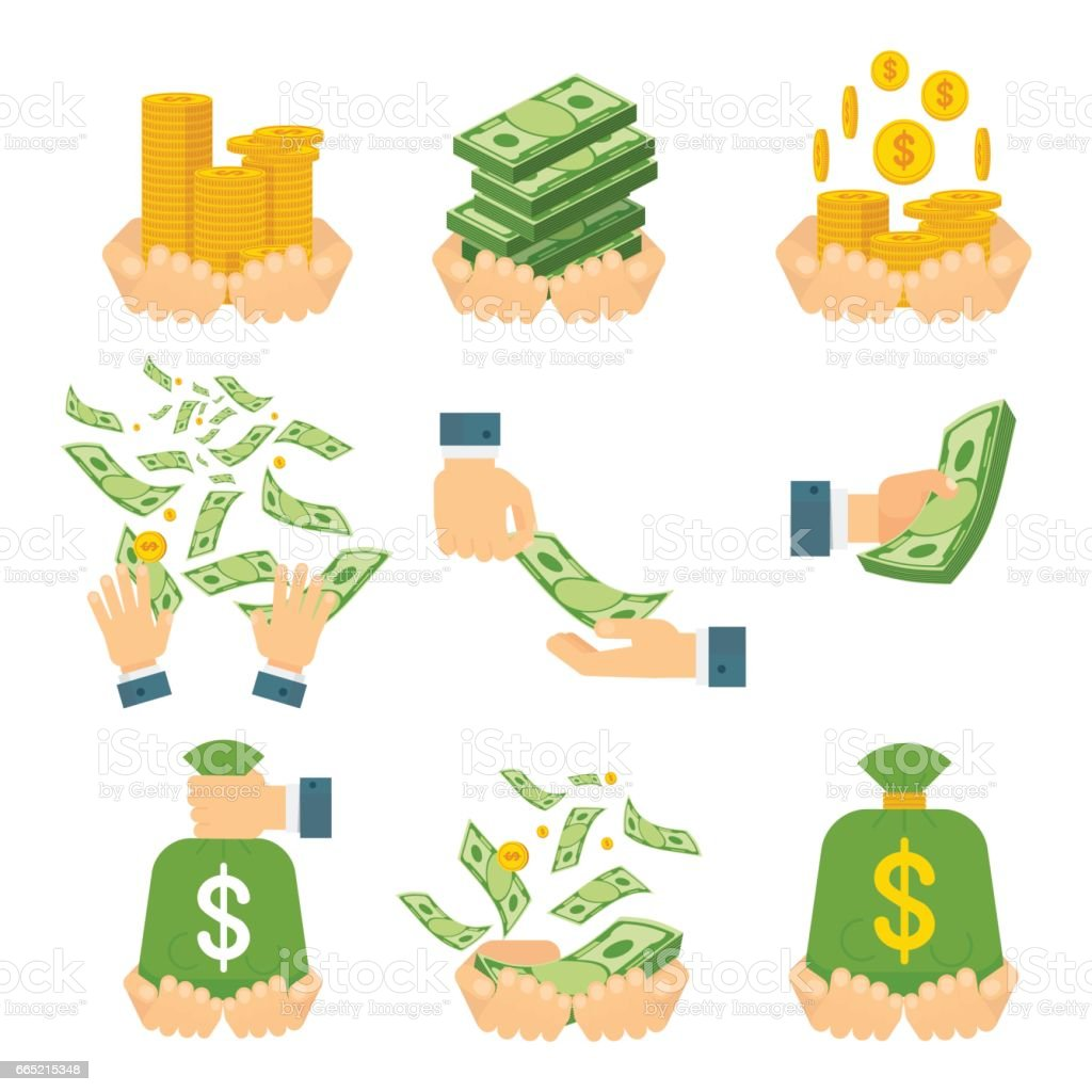 money in hands vector art illustration
