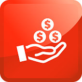 Money In Human Hand.. The icon is white and is placed on a square red vector sticker. The composition is simple and elegant. The vector icon is the most prominent part if this illustration. The red color of the sticker is perfect for catching attention or representing notice symbols. This is a 100% royalty free vector illustration and is easy to modify.