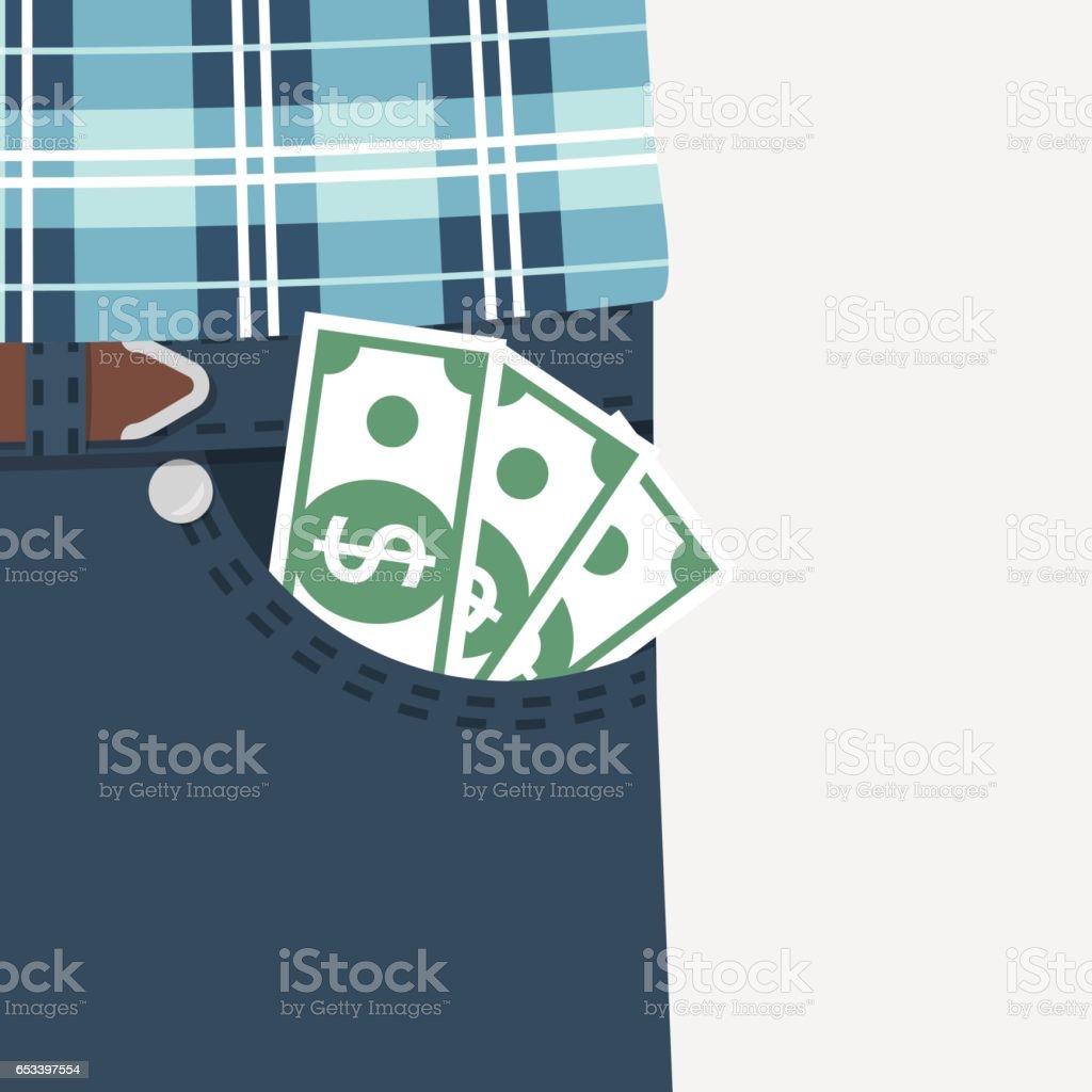 Money in pocket. vector vector art illustration