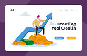 Money Income Growth Landing Page Template. Tiny Business Man Work on Laptop Sit on Huge Growing Arrow with Coins and Banknotes Below. Male Character Savings or Investment. Cartoon Vector Illustration