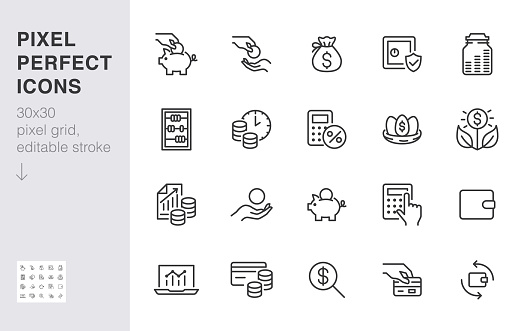 Money income line icon set. Pension fund, profit growth, piggy bank, finance capital minimal vector illustration. Simple outline signs for investment application. 30x30 Pixel Perfect Editable Strokes