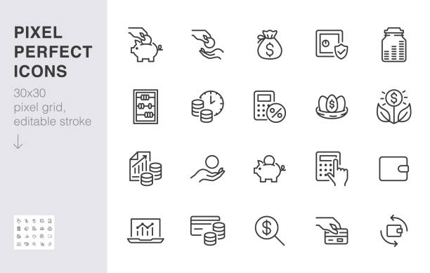 Money income line icon set. Pension fund, profit growth, piggy bank, finance capital minimal vector illustration. Simple outline signs for investment application. 30x30 Pixel Perfect Editable Strokes Money income line icon set. Pension fund, profit growth, piggy bank, finance capital minimal vector illustration. Simple outline signs for investment application. 30x30 Pixel Perfect Editable Strokes. piggy bank stock illustrations