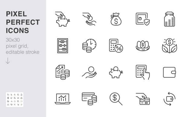 ilustrações, clipart, desenhos animados e ícones de ícone da linha de renda monetária definido. fundo de pensão, crescimento de lucros, cofrinho, financiamento de capital mínimo ilustração vetorial. sinais simples de contorno para aplicação de investimento. 30x30 pixel perfect eeditável strokes - empréstimo