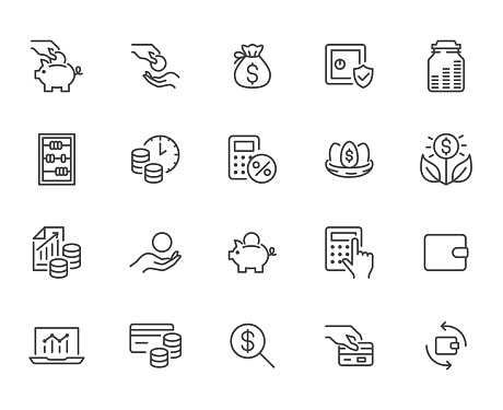 Money income line icon set. Pension fund, profit growth, piggy bank, finance capital minimal vector illustration. Simple outline signs for investment application. Pixel Perfect, Editable Strokes