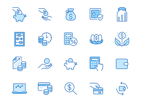 Money income line icon set. Pension fund, profit growth, piggy bank, finance capital minimal vector illustration. Simple outline signs for investment application. Blue color, Editable Stroke