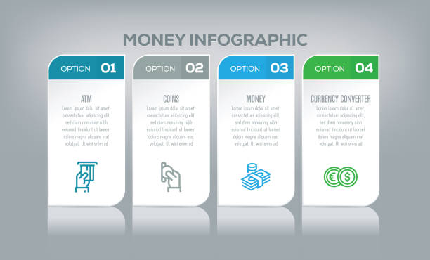 money infographic - infographics stock illustrations, clip art, cartoons, & icons