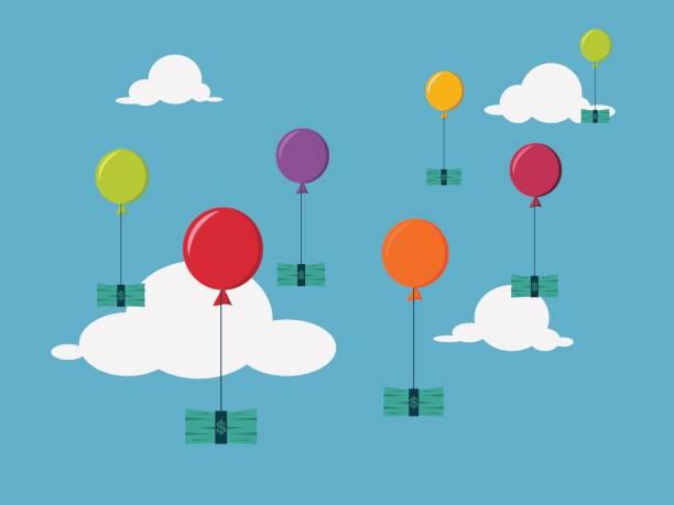 illustrations, cliparts, dessins animés et icônes de concept d'investissement de l'argent. un paquet d'argent étant attaché par la corde de l'illustration de balloons.vector. - inflation