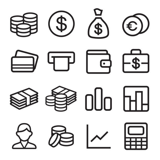 Money ios 7 icon set Money and coin icon set in ios7 style. Vector illustration. change purse stock illustrations