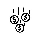 istock Money is falling icon vector. Isolated contour symbol illustration 1205486437